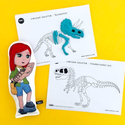 tyrannosaurus triceratops dinosaur skeleton kids STEM activity printables
