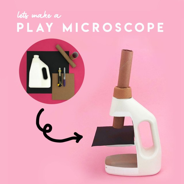 Steps to make a pretend play microscope from recycled materials