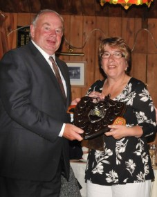 Ivan Trickey and Di Johnson winning the Pairs Scawen Shield