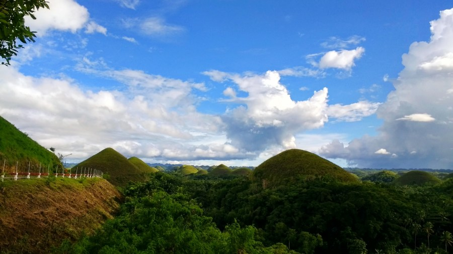 Chocolate Hills from parking lot of viewpoint.