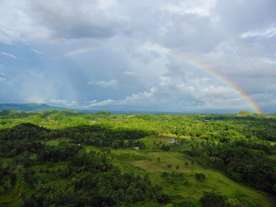 Picture of a double rainbow over the Chocolate Hills.