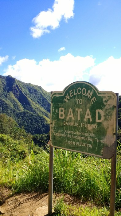 Welcome to Batad sign
