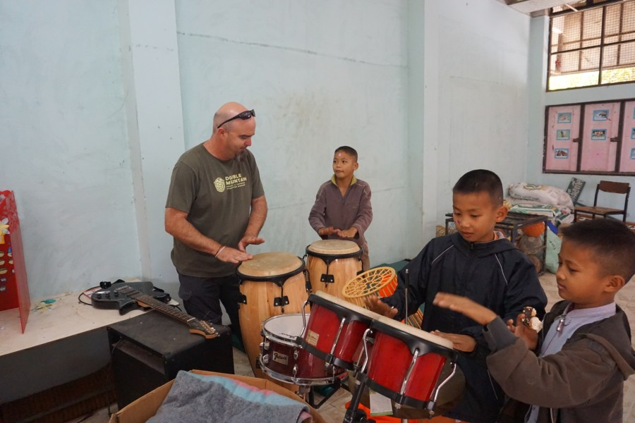 Drumming at a local school, culture, traditions, responsible tourism, Thailand