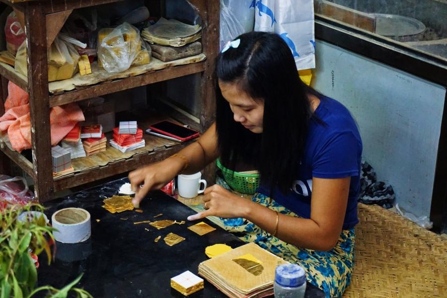 Mandalay, Myanmar. gold leaf pressing, local trades, artwork