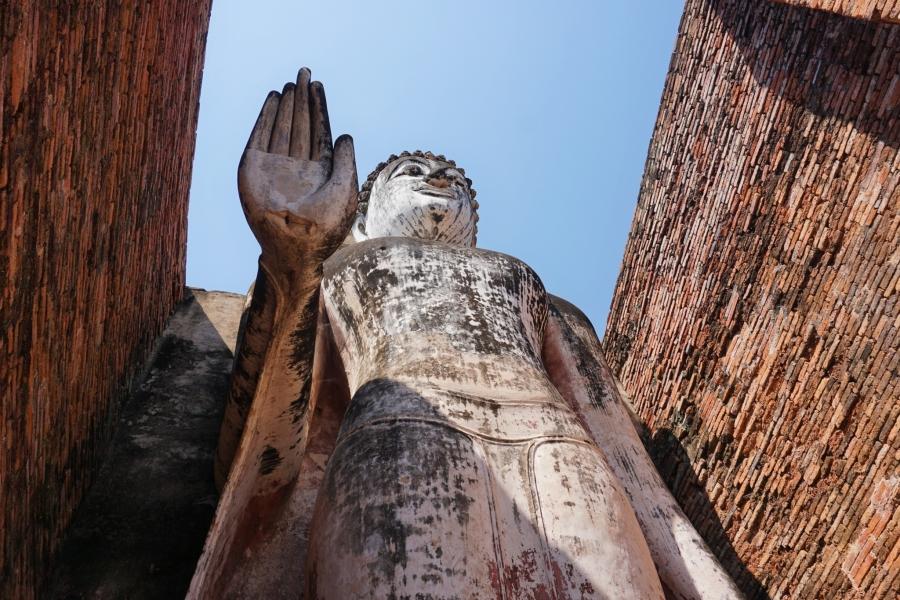 Standing buddha at Wat Mahathat, Sukhothai, Thailand, ancient, Buddhism, ruins, Southeast Asia
