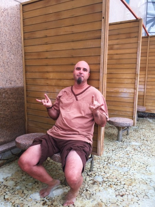 Relaxing in the foot bath at Spa Land.