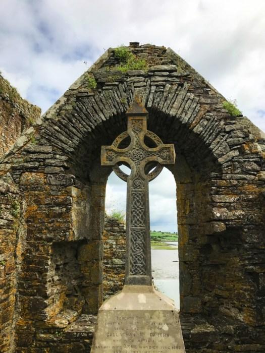 Celtic Cross at Timoleague Abbey, Ireland.