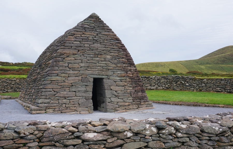 Gallerus Oratory is a boat like structure on the Dingle peninsula