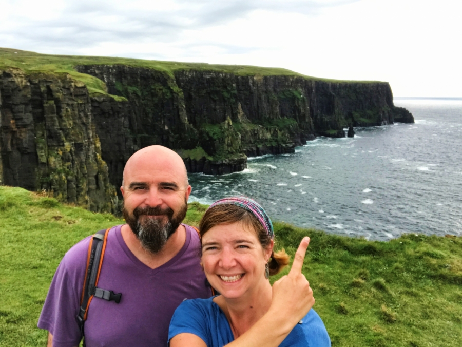 Cliffs of Moher selfie in Ireland.