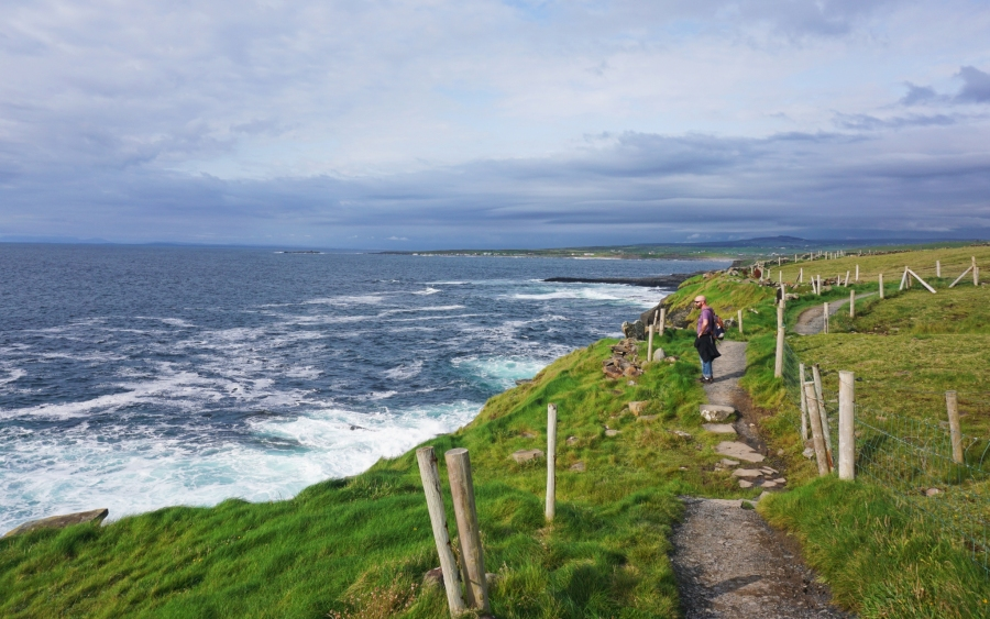 The coastal hiking trail that follows the Cliffs of Moher on the Wild Atlantic Way.