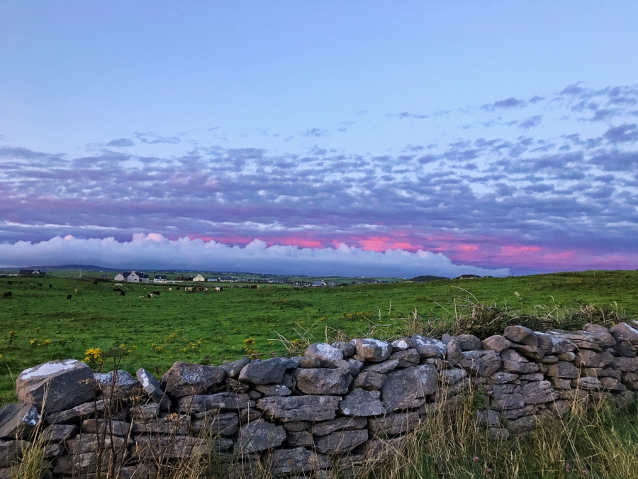 Sunset in Doolin Ireland, home to traditional Irish music and gateway to the Cliffs of Moher.