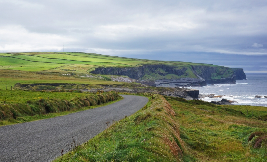 The Loop Head drive in County Clare, Ireland is visually stunning as you pass by the Kilkee Cliffs.