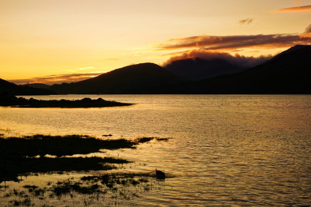 Leenaun, Ireland in Connemara is a beautiful place to watch sunset.