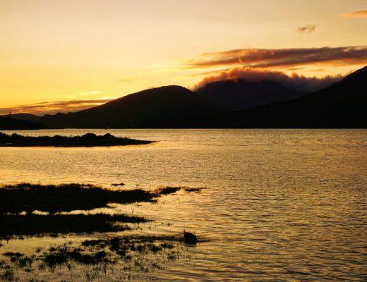 Leenaun, Ireland in Connemara is a beautiful place to watch sunset.
