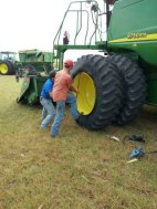 Repairing a combine tire