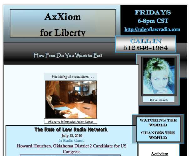 Axxiom on Air with Oklahoma Primary Candidates – For the Win 2010!