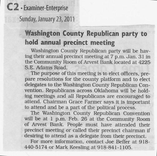 Washington County GOP Precinct Meetings set for January 31 / reset for Feb 7