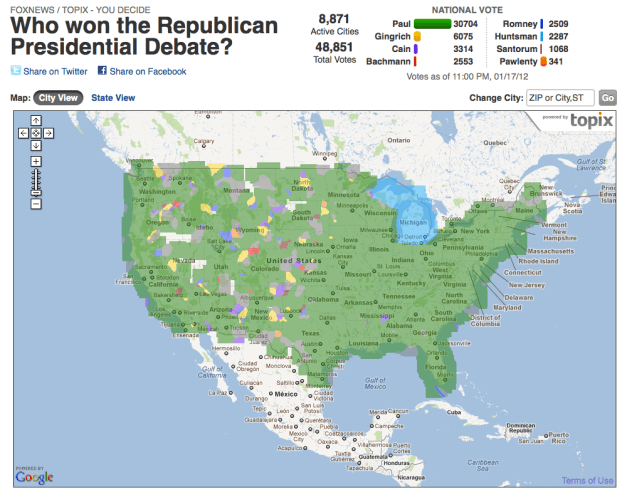 Media Manipulation Message of the Iowa Straw Poll?  GretaWire Thread is Interesting, Green Map is Astounding and Comments are Revealing ...