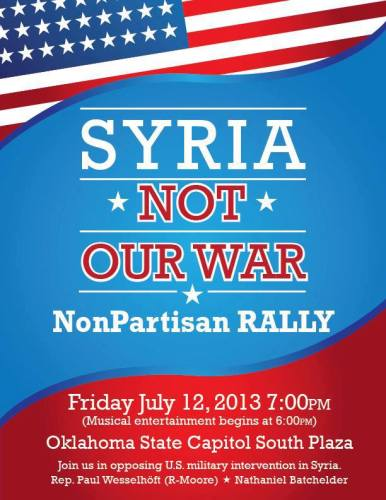 Syria NOT Our War NonPartisan Rally at OKC Capitol July 12th