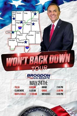 Brogdon Whistle Stop Tour - Saturday May 24th - NE Oklahoma in a City Near You!