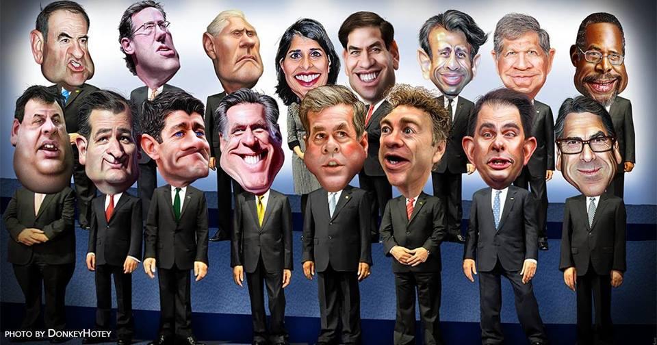 Democrats Cartoon Republicans for Debate Watch Party