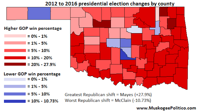 Maps: 2012 and 2016 Oklahoma presidential results compared