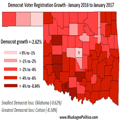 Voter Registration Maps: Party Growth, 1/16 to 1/17