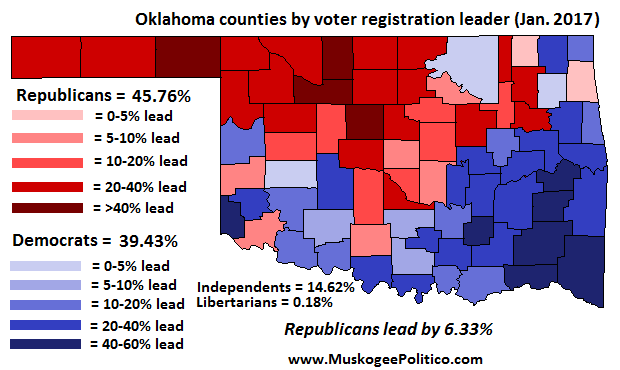 Oklahoma Voter Registration Map, January 2017