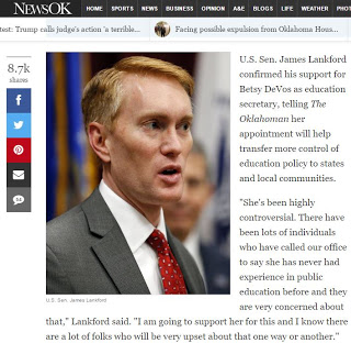 From The 'This Is Bad' File: Senator Lankford And Senator Inhofe Both Support Betsy DeVos