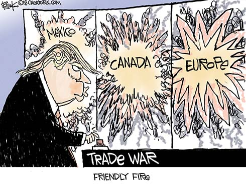 Image result for CARTOONS ON TRUMPS TRADE WAR WITH CHINA