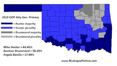 MuskogeePolitico/Election Results Map: GOP AG Primary