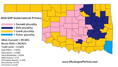 MuskogeePolitico:  Election Results Map: GOP Gubernatorial Primary