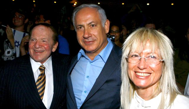 Sheldon Adelson, left, Israeli Prime Minister Benjamin Netanyahu, center, and Adelson's wife, Miriam (photo by Eyal Warshavsky)
