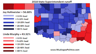 MuskogeePolitico:  Election Results Map: State Superintendent runoff
