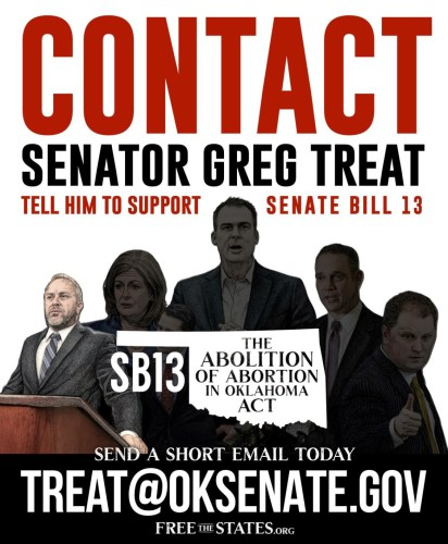 Contact Senate Pro-Tem Greg Treat:  The Man Who Advances or Kills SB 13
