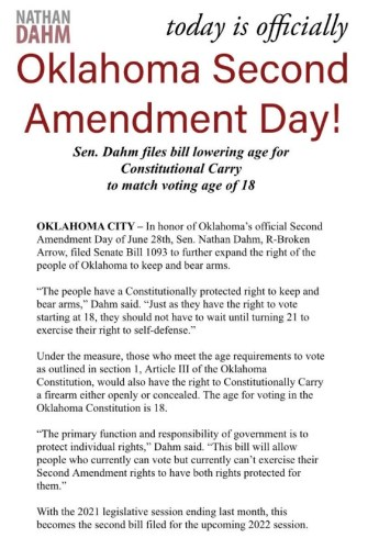 Bill Filed Lowering Age to 18 for Constitutional Carry