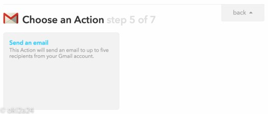 Choose an Action step 5 of 7。「Send an email」を選択。