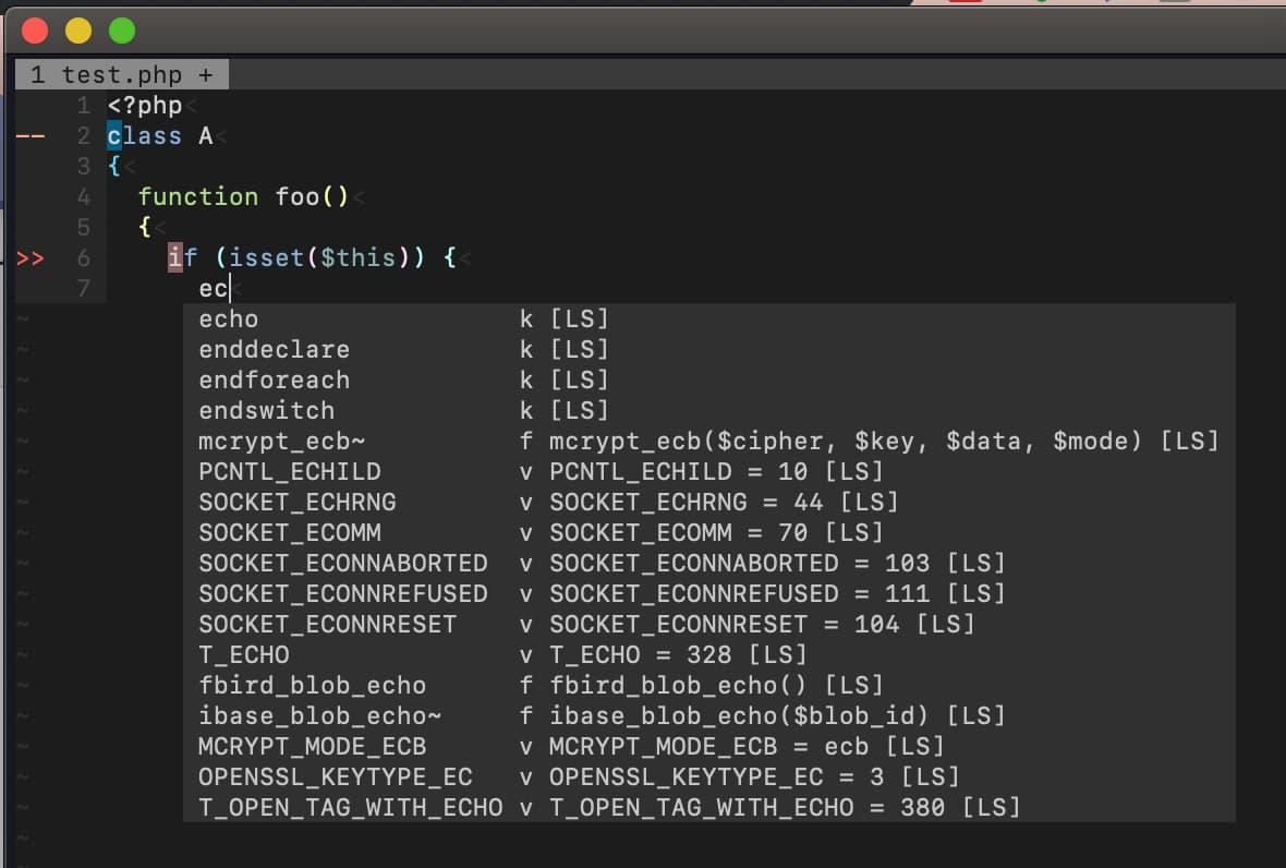 coc-phpls の補完の様子