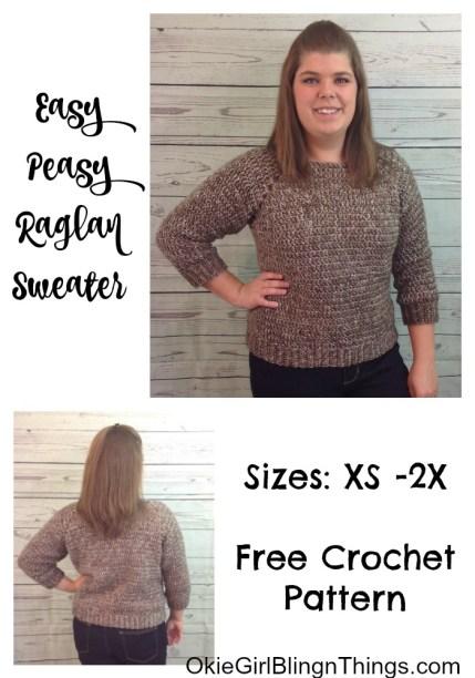 66827ff2505066 Easy-Peasy Raglan Sweater - Free Crochet Pattern - OkieGirlBling n ...