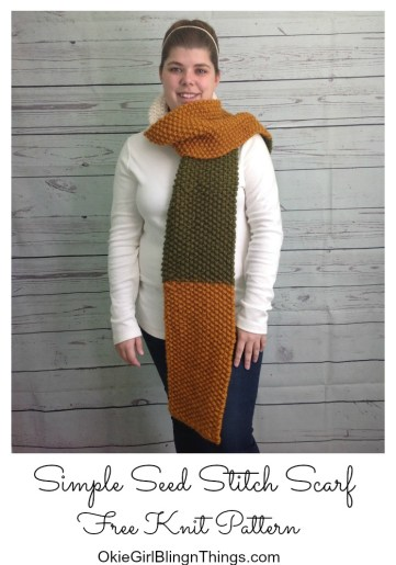 Simple Seed Stitch Knit Scarf Free Pattern Okiegirlbling N Things