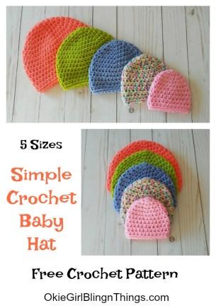 Simple Crochet Baby Hat 5 Sizes Free Crochet Pattern