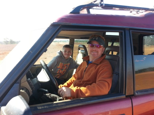 Jayden and John in their Discovery 1.