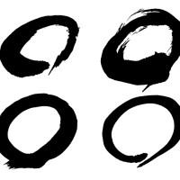 フリー素材和風シリーズ「筆で書いた丸」