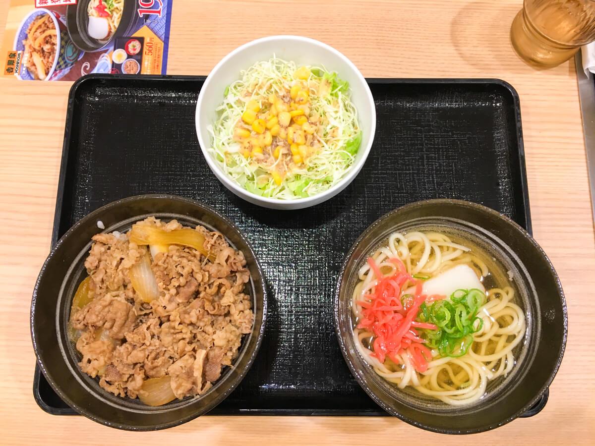 牛丼と沖縄そばセット