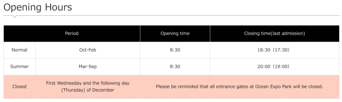 Expo Park hours