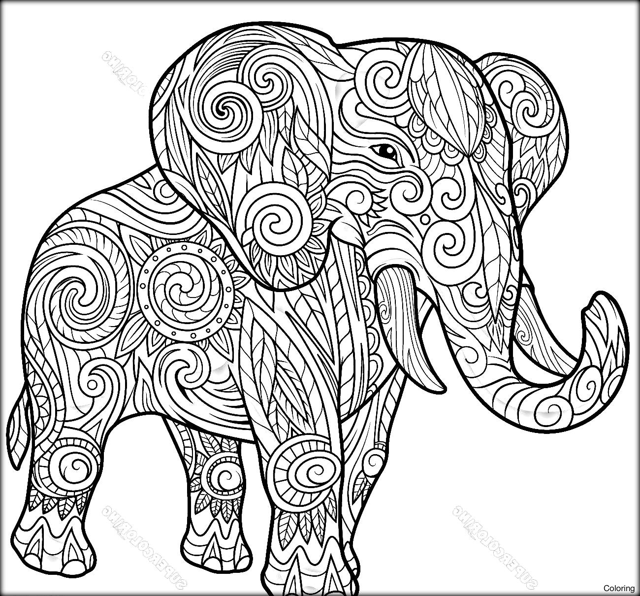 Elephant Mandala Coloring Pages Collection