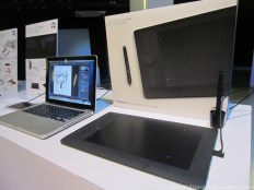 Compared to the Mac, the Intuos Pro sure takes up a lot of table real estate.
