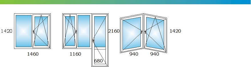 Окна в двухкомнатной квартире дома П44Т с размерами С