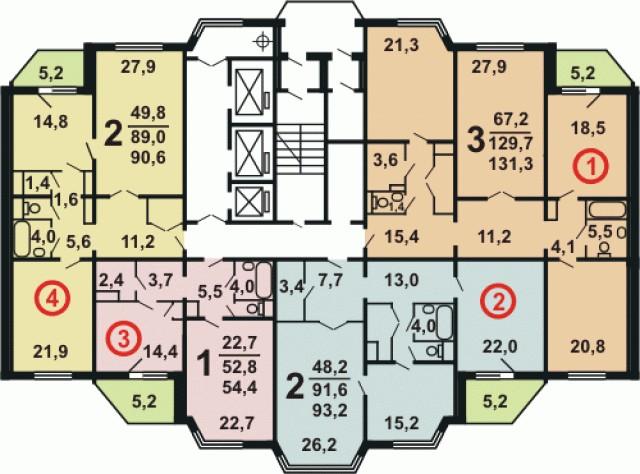 Планировка квартир дома серии П44ТМ25