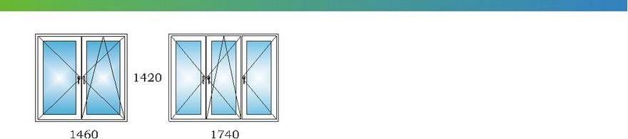 Окна в однокомнатной квартире дома П3 с размерами М